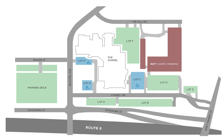 the chapel akron map of parking lot